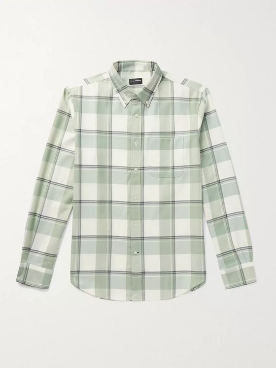 CLUB MONACO Button-Down Collar Checked Twill Shirt