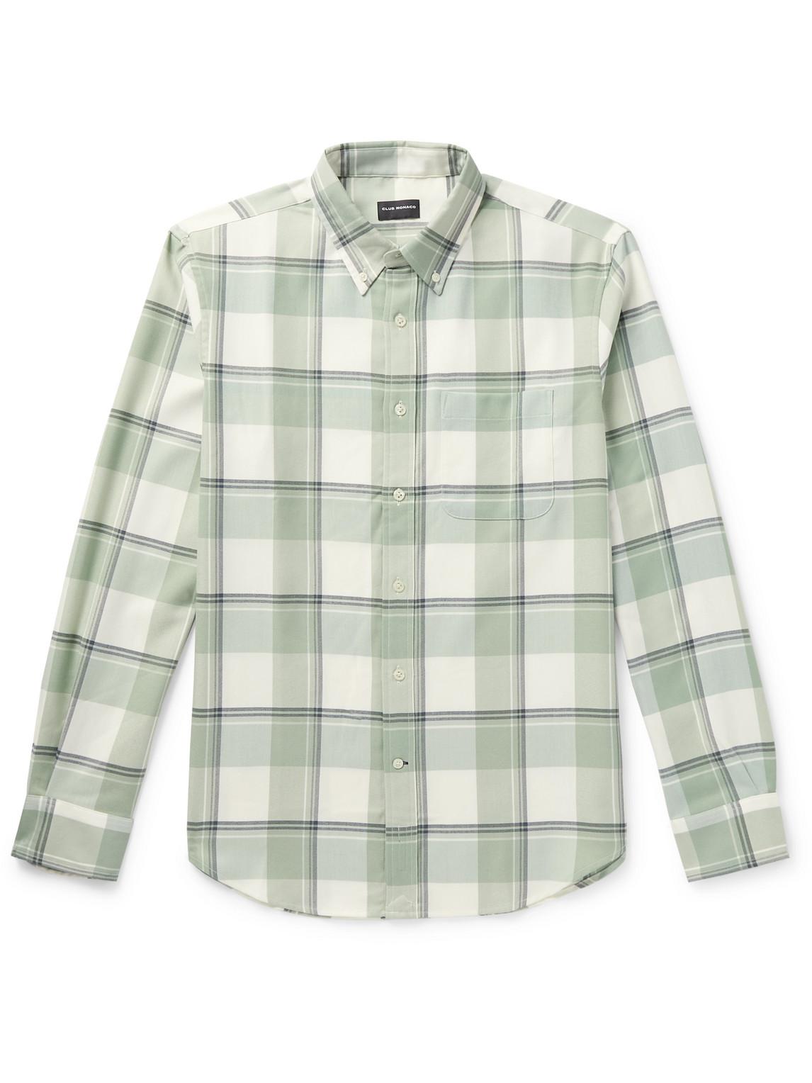 club monaco - button-down collar checked twill shirt - men - green - xs