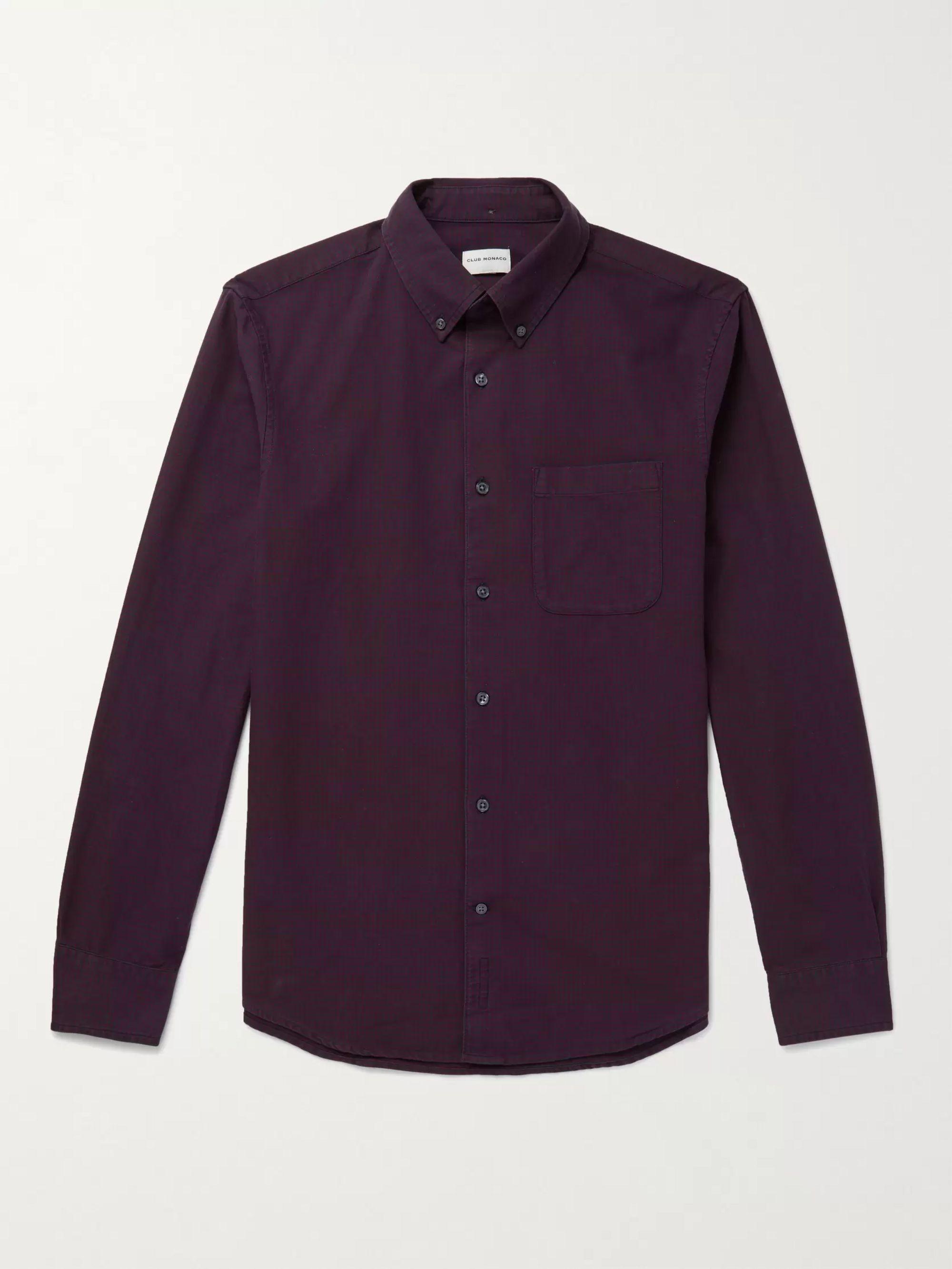 CLUB MONACO Slim-Fit Button-Down Collar Checked Cotton Oxford Shirt