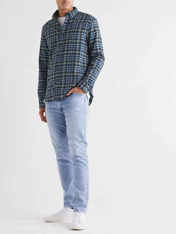 CLUB MONACO Slim-Fit Button-Down Collar Checked Cotton-Flannel Shirt
