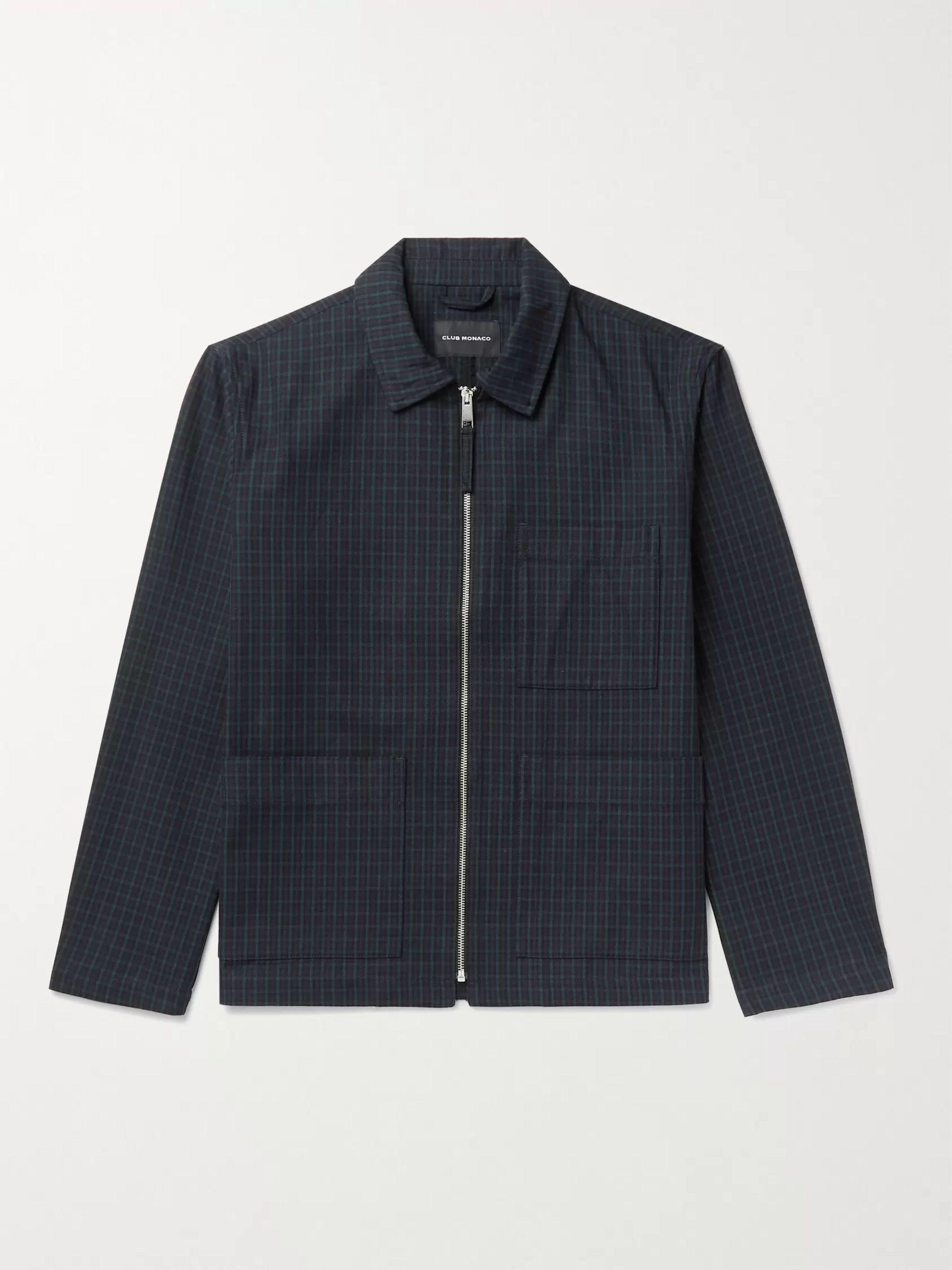 CLUB MONACO Checked Cotton-Blend Blouson Jacket