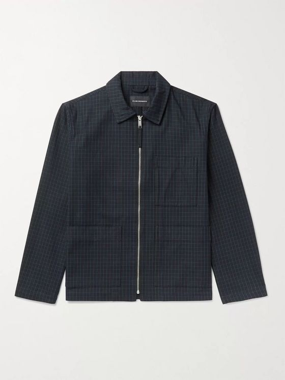 CLUB MONACO Checked Cotton-Blend Blouson Jacket