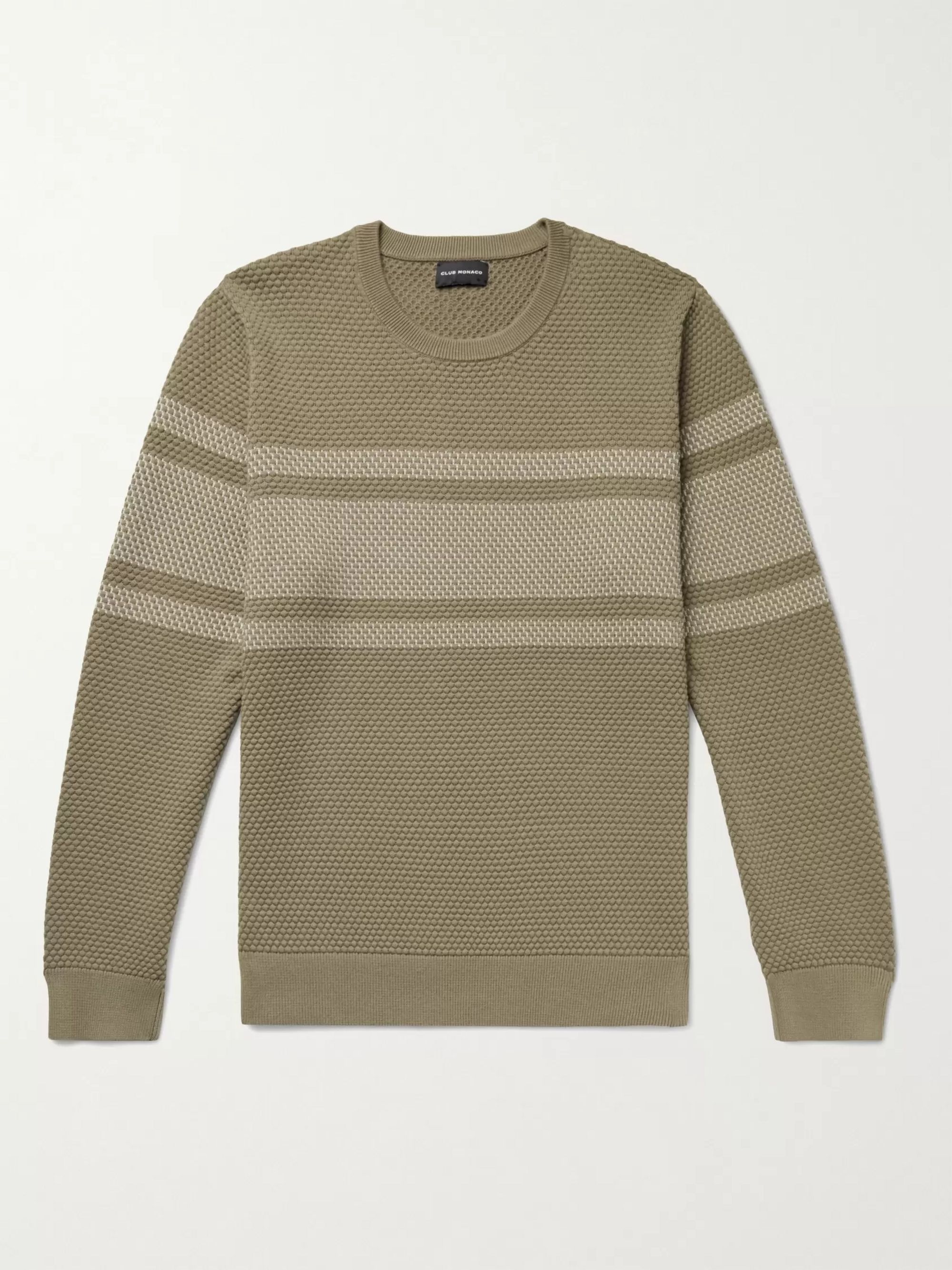 CLUB MONACO Striped Honeycomb-Knit Cotton-Blend Sweater