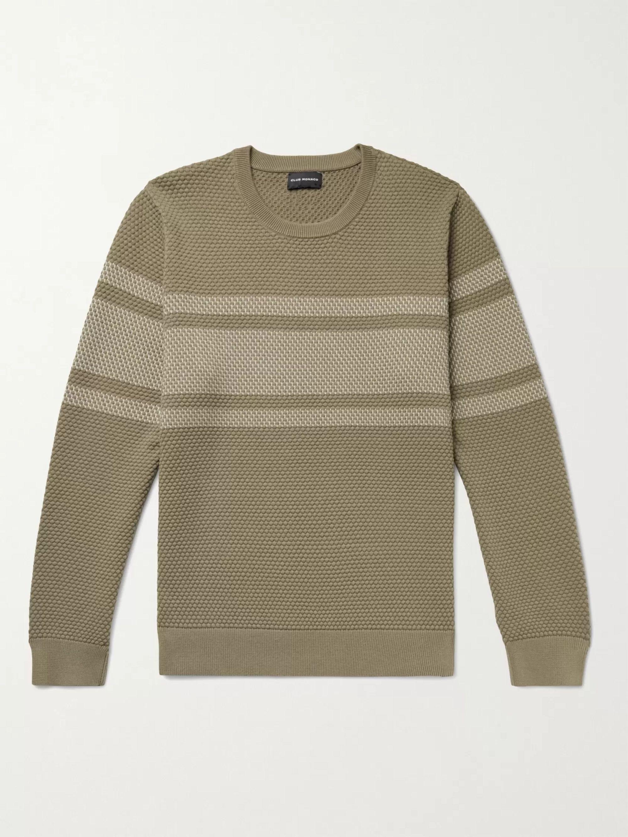 CLUB MONACO Striped Honeycomb-Knit Cotton-Blend Sweater