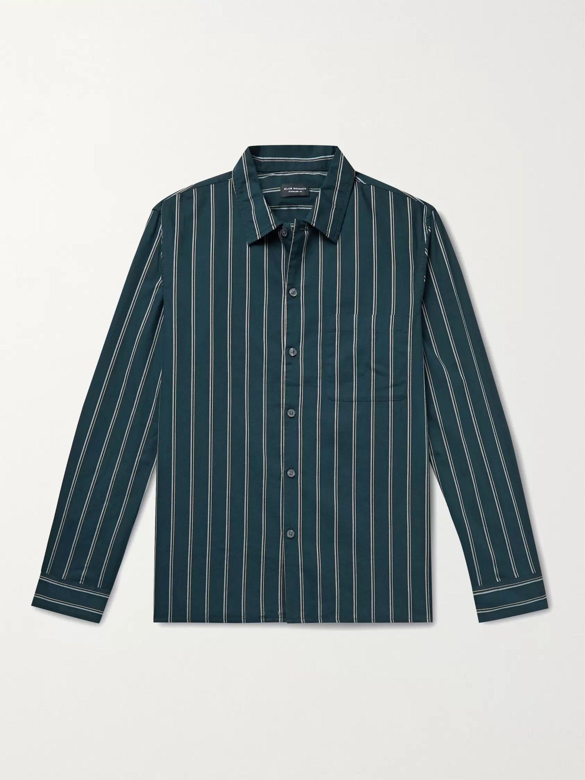 CLUB MONACO Striped Cotton Oxford Shirt