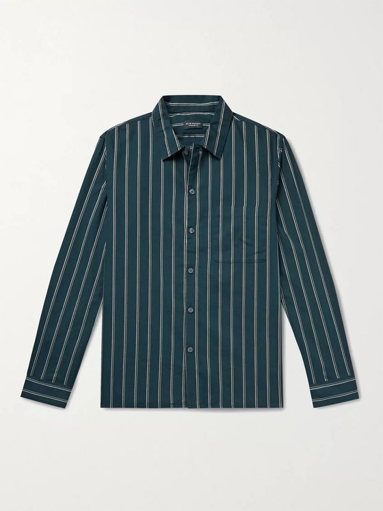CLUB MONACO Striped Cotton Oxford Shirt
