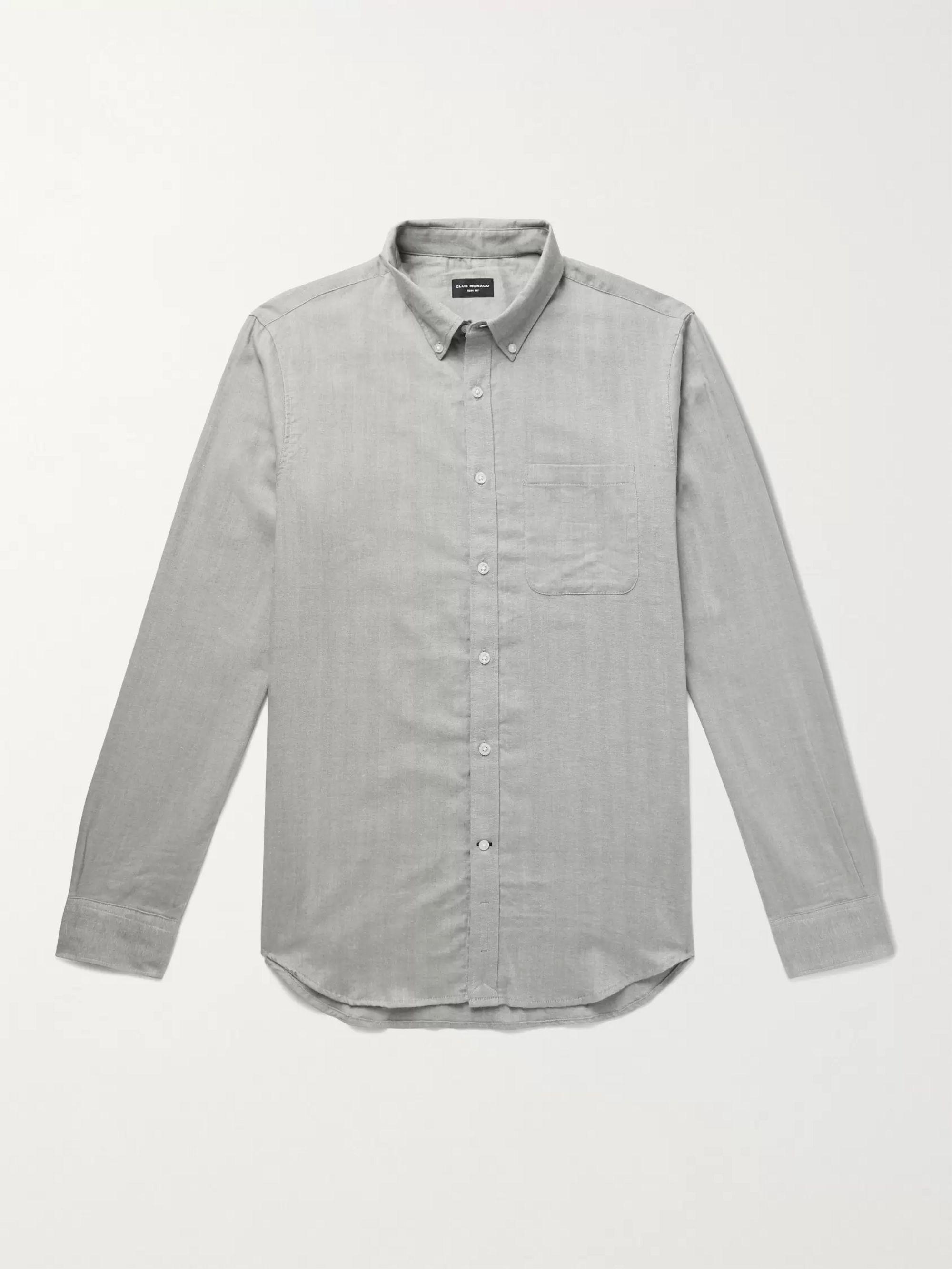 CLUB MONACO Slim-Fit Button-Down Collar Herringbone Cotton-Flannel Shirt