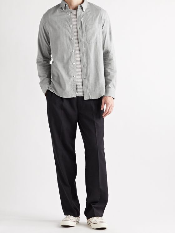 CLUB MONACO Slim-Fit Button-Down Collar Herringbone Cotton-Flannel Shirt