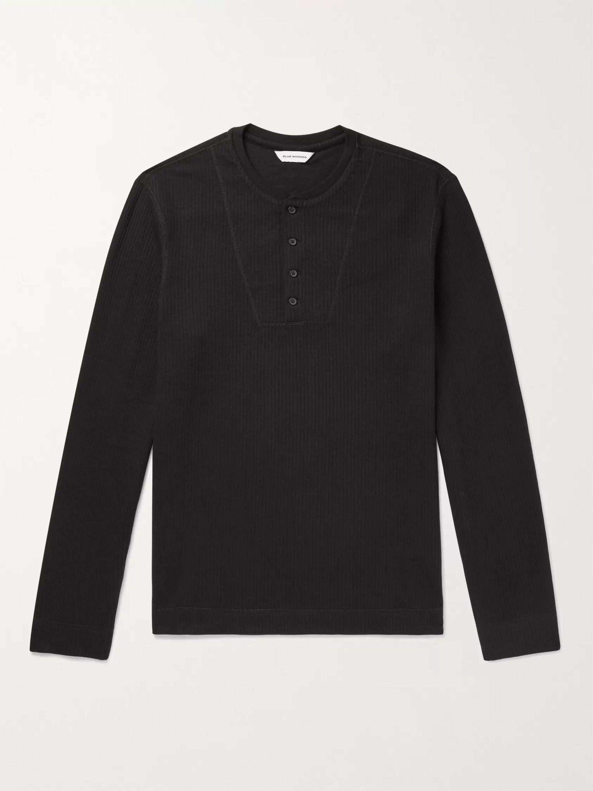 CLUB MONACO Slim-Fit Ribbed Cotton-Blend Henley T-Shirt