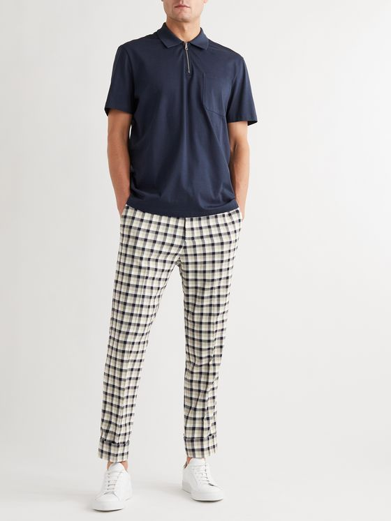 CLUB MONACO Tapered Cropped Checked Woven Trousers