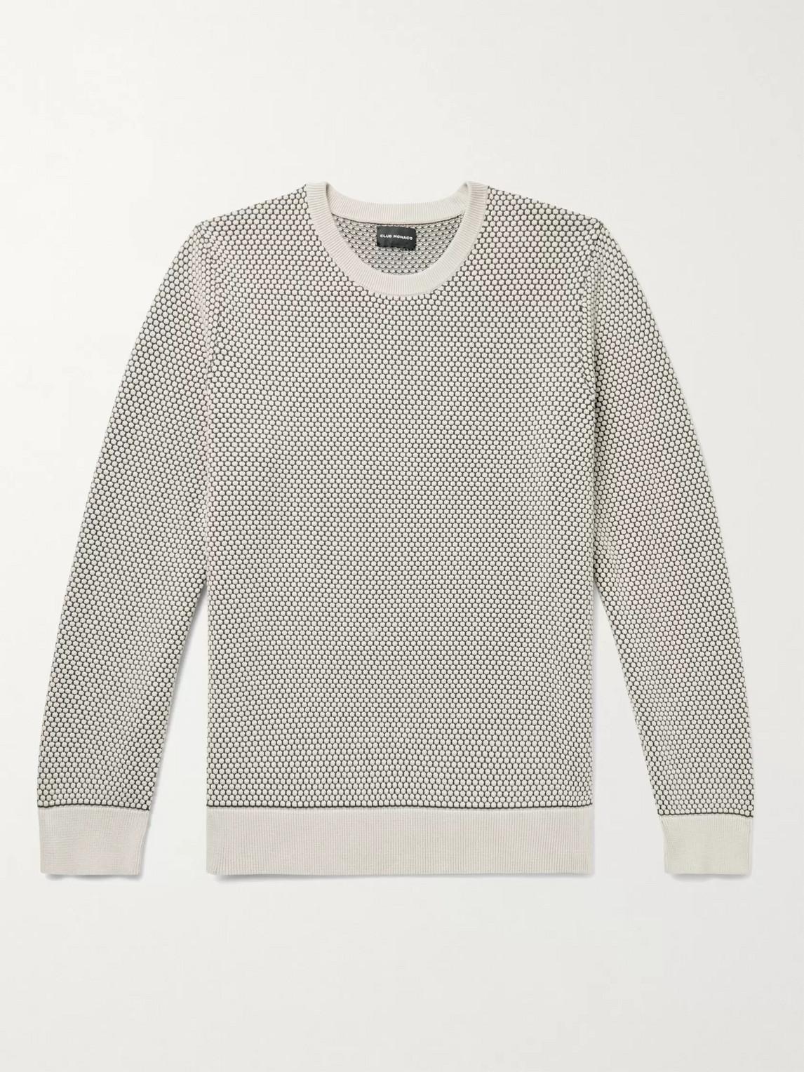 Club Monaco Oatmeal Honeycomb Knit Crewneck Sweater In Size M