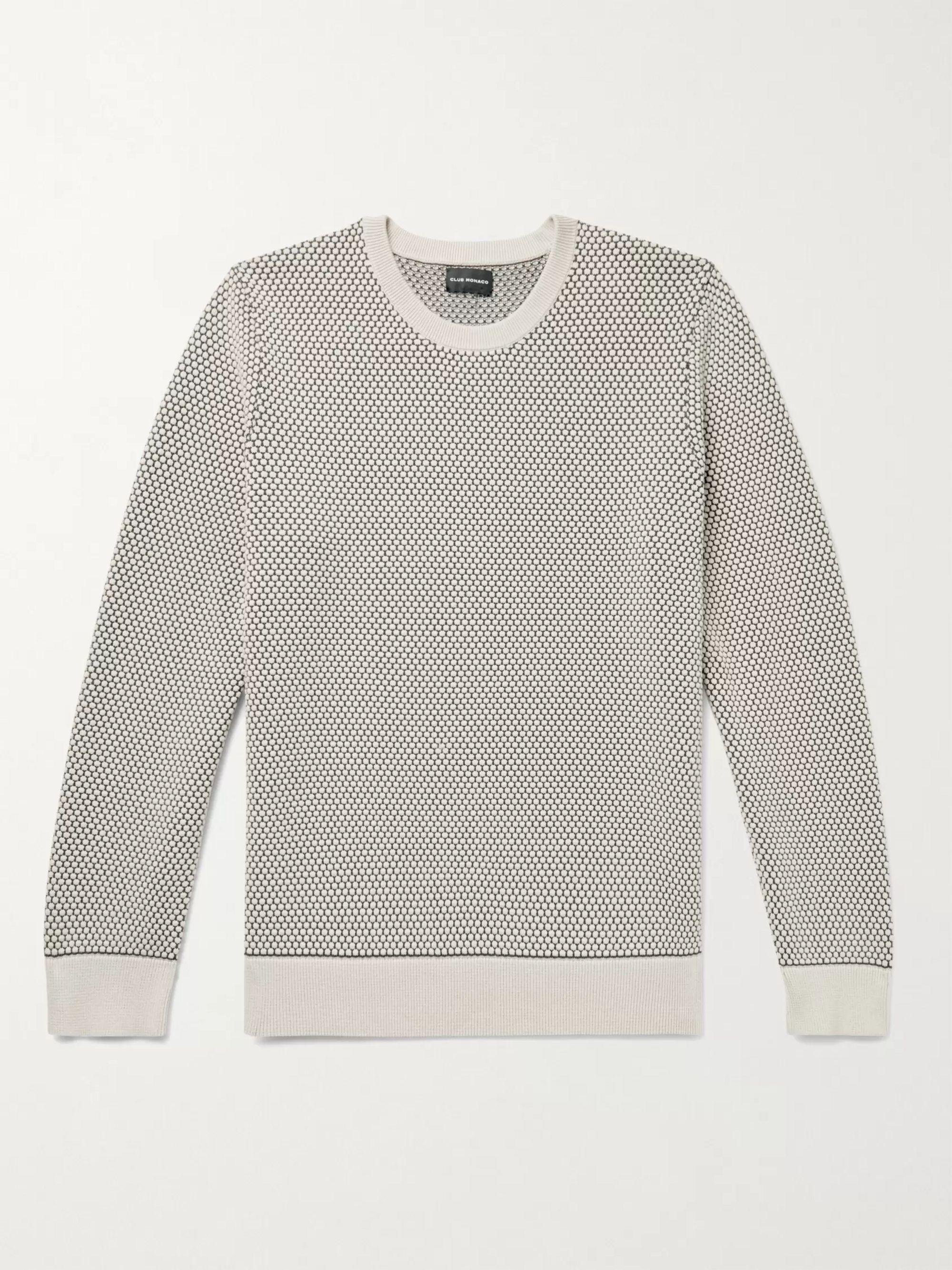 CLUB MONACO Honeycomb-Knit Cotton-Blend Sweater