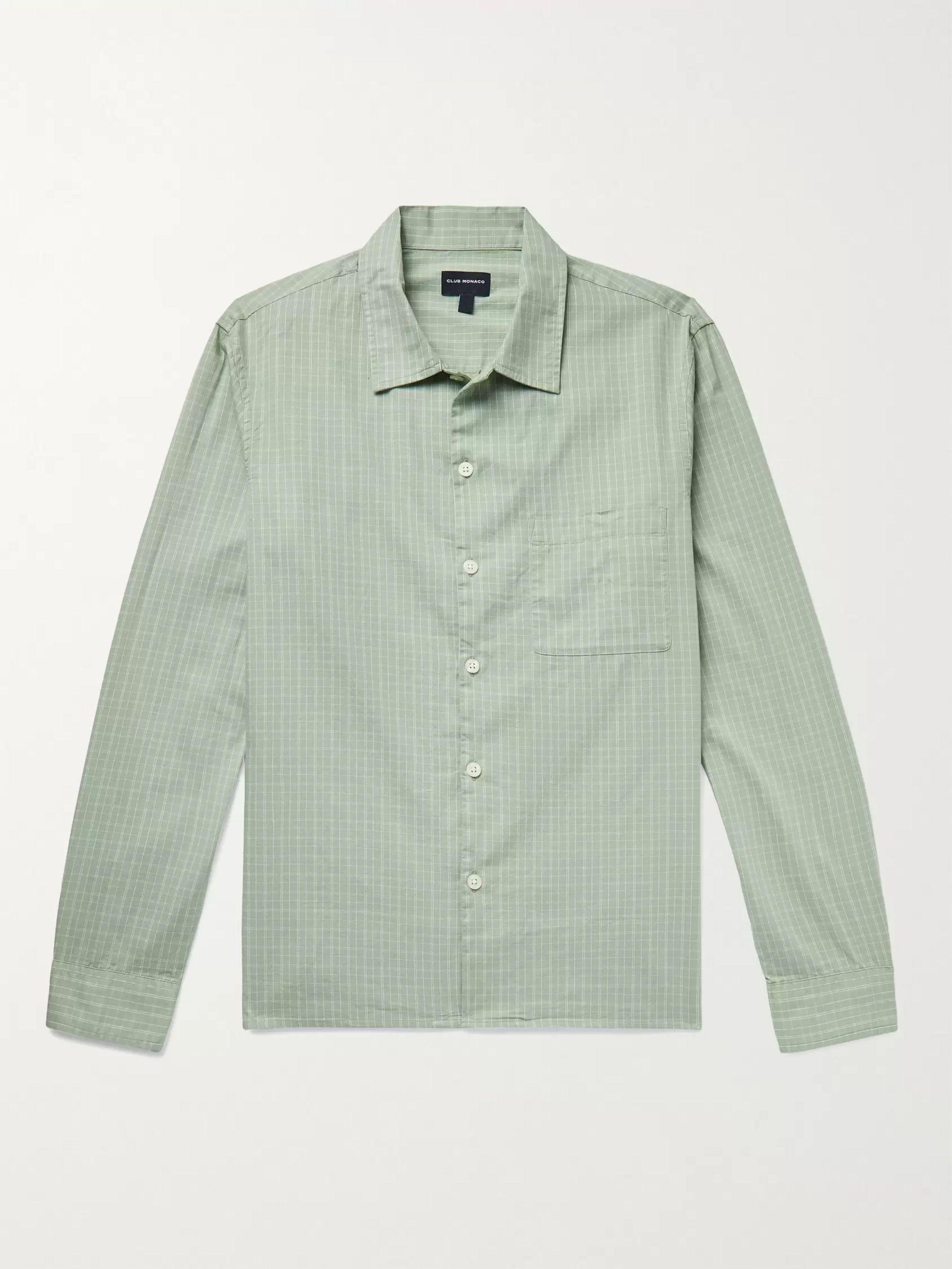 CLUB MONACO Checked Cotton Oxford Shirt