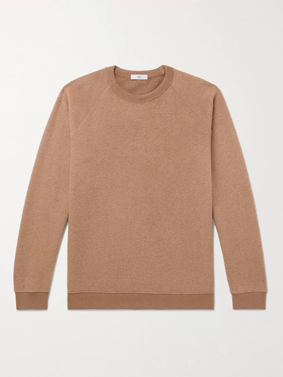 SSAM Textured Loopback Cotton and Camel Hair-Blend Sweatshirt