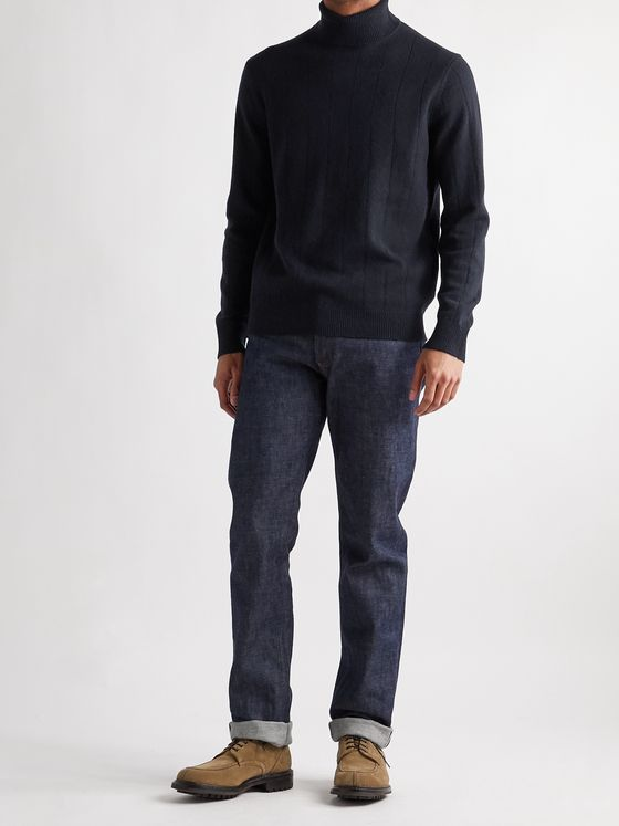 CLUB MONACO Ribbed Wool and Cashmere-Blend Rollneck Sweater
