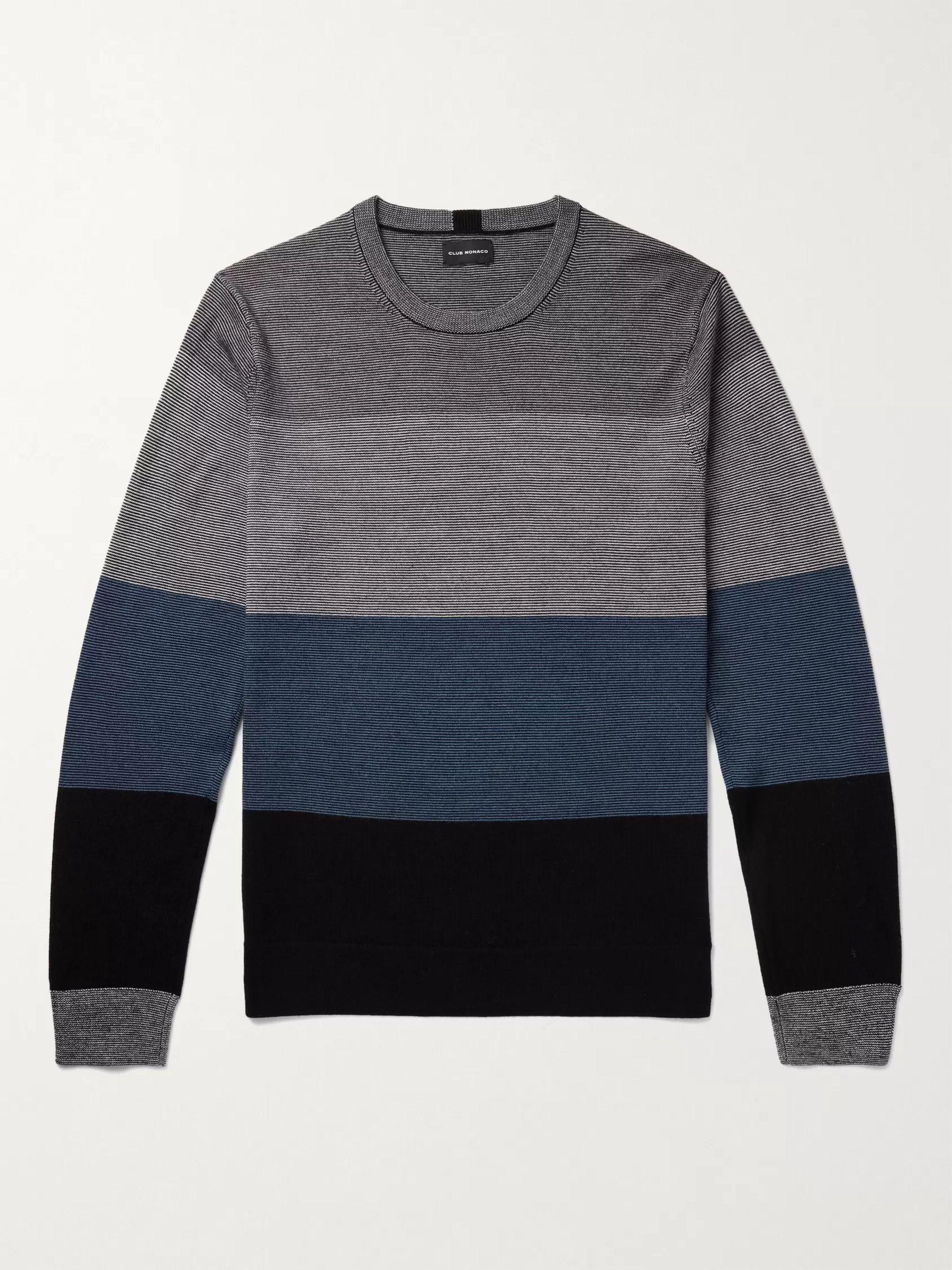 CLUB MONACO Striped Wool Sweater