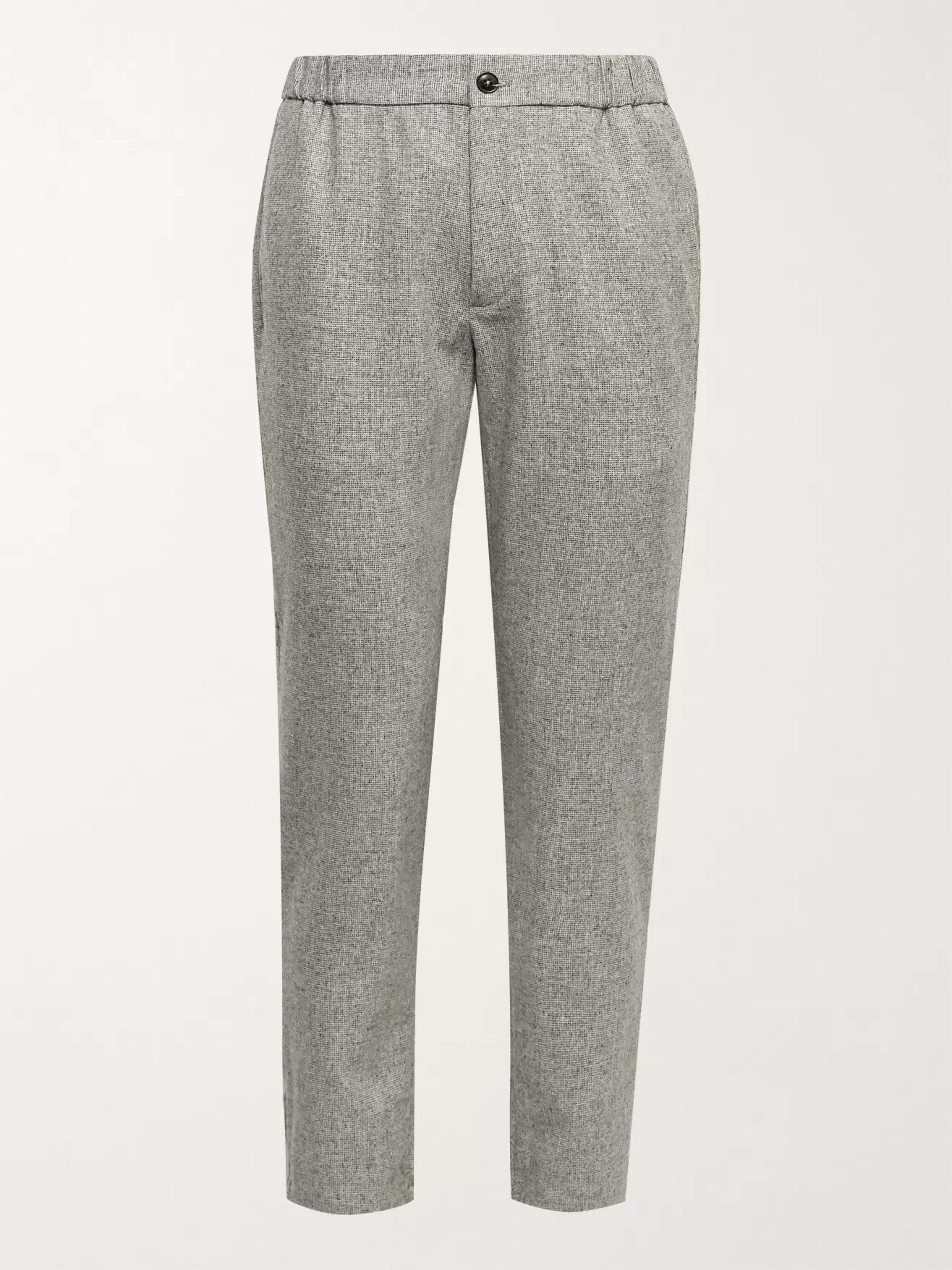 CLUB MONACO Lex Tapered Wool-Blend Donegal Tweed Trousers