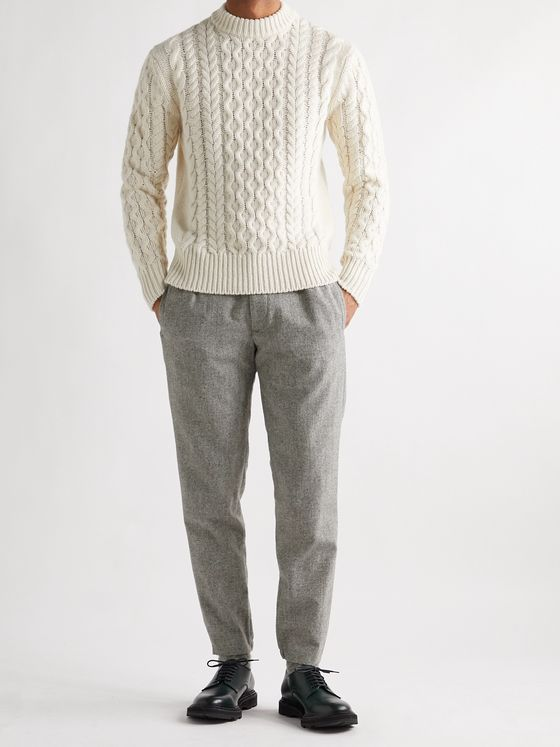 CLUB MONACO Lex Tapered Wool-Blend Donegal Tweed Trousers
