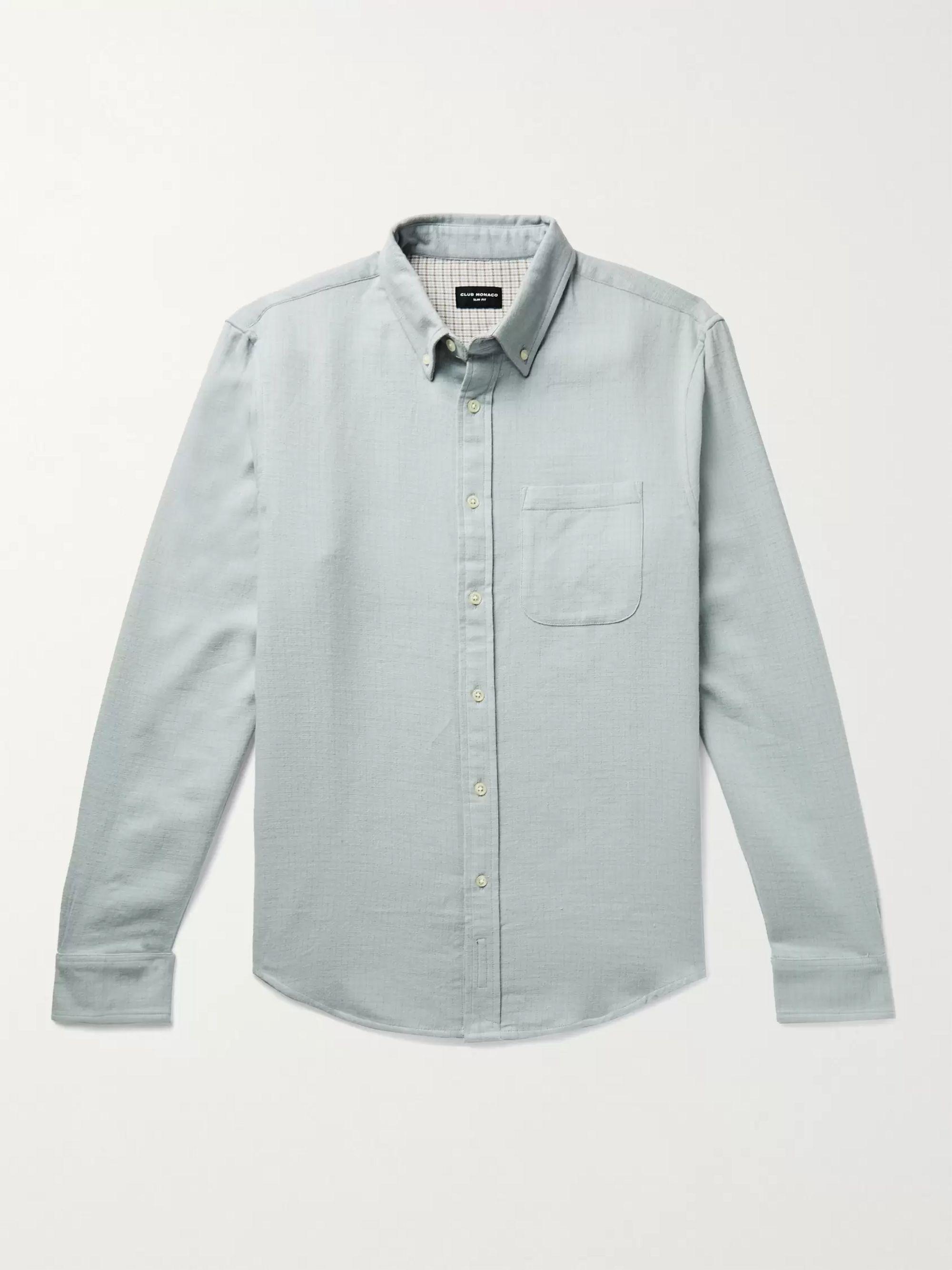CLUB MONACO Slim-Fit Button-Down Collar Double-Faced Cotton Shirt