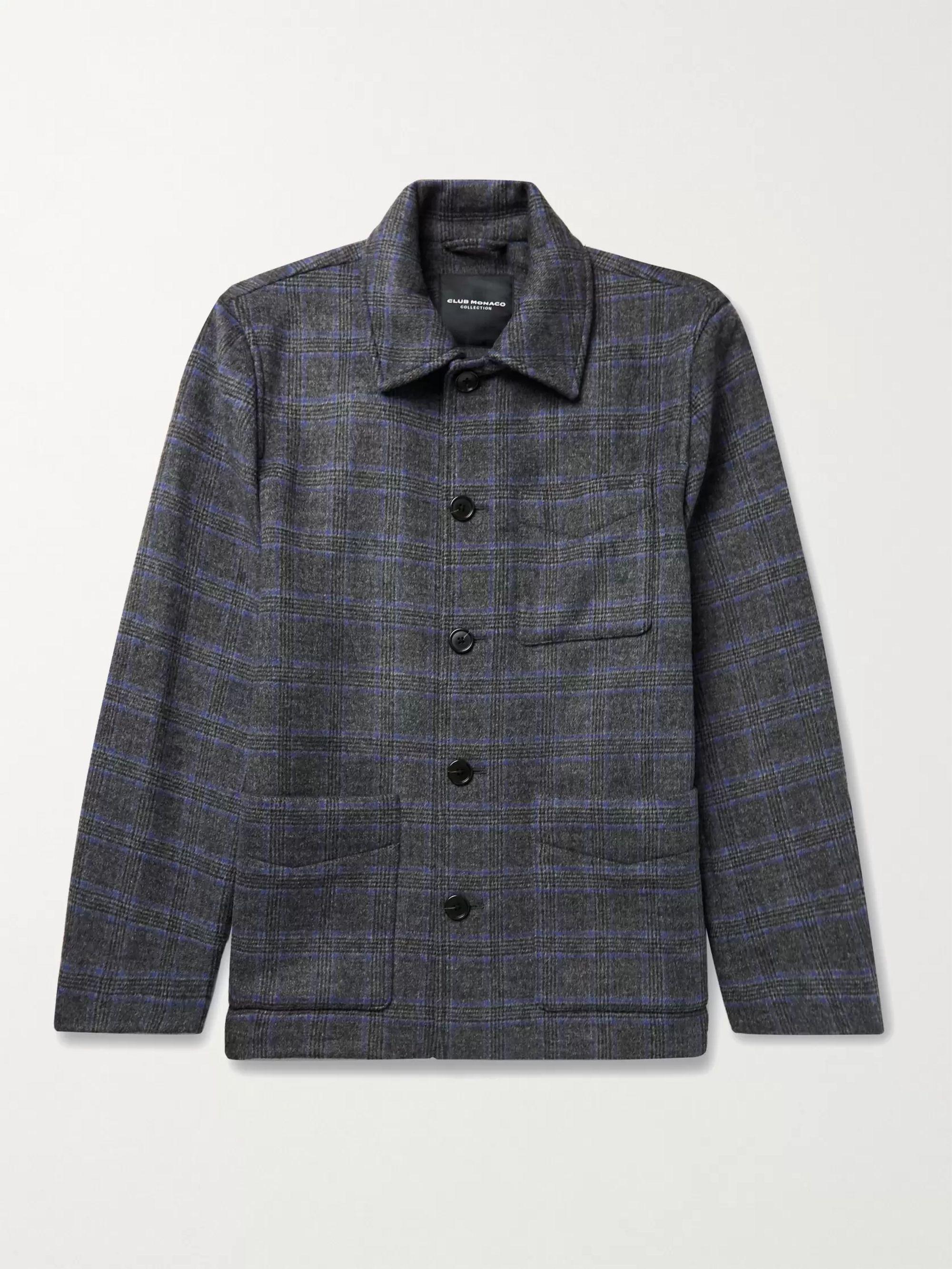 CLUB MONACO Checked Wool-Blend Chore Jacket