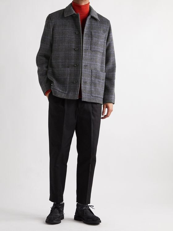 CLUB MONACO Checked Wool-Blend Chore Jacket