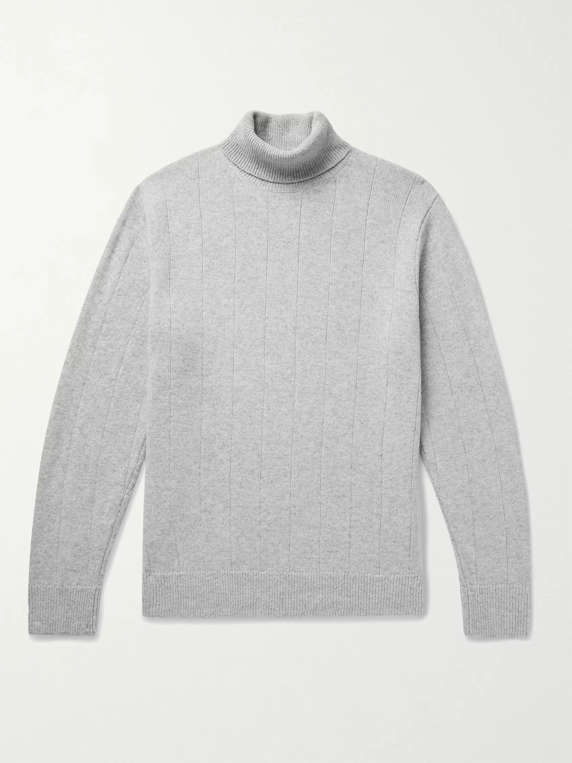 CLUB MONACO Ribbed Melange Wool and Cashmere-Blend Rollneck Sweater