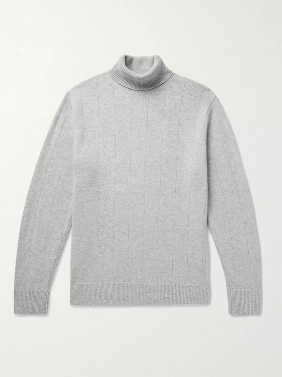 CLUB MONACO Ribbed Mélange Wool and Cashmere-Blend Rollneck Sweater