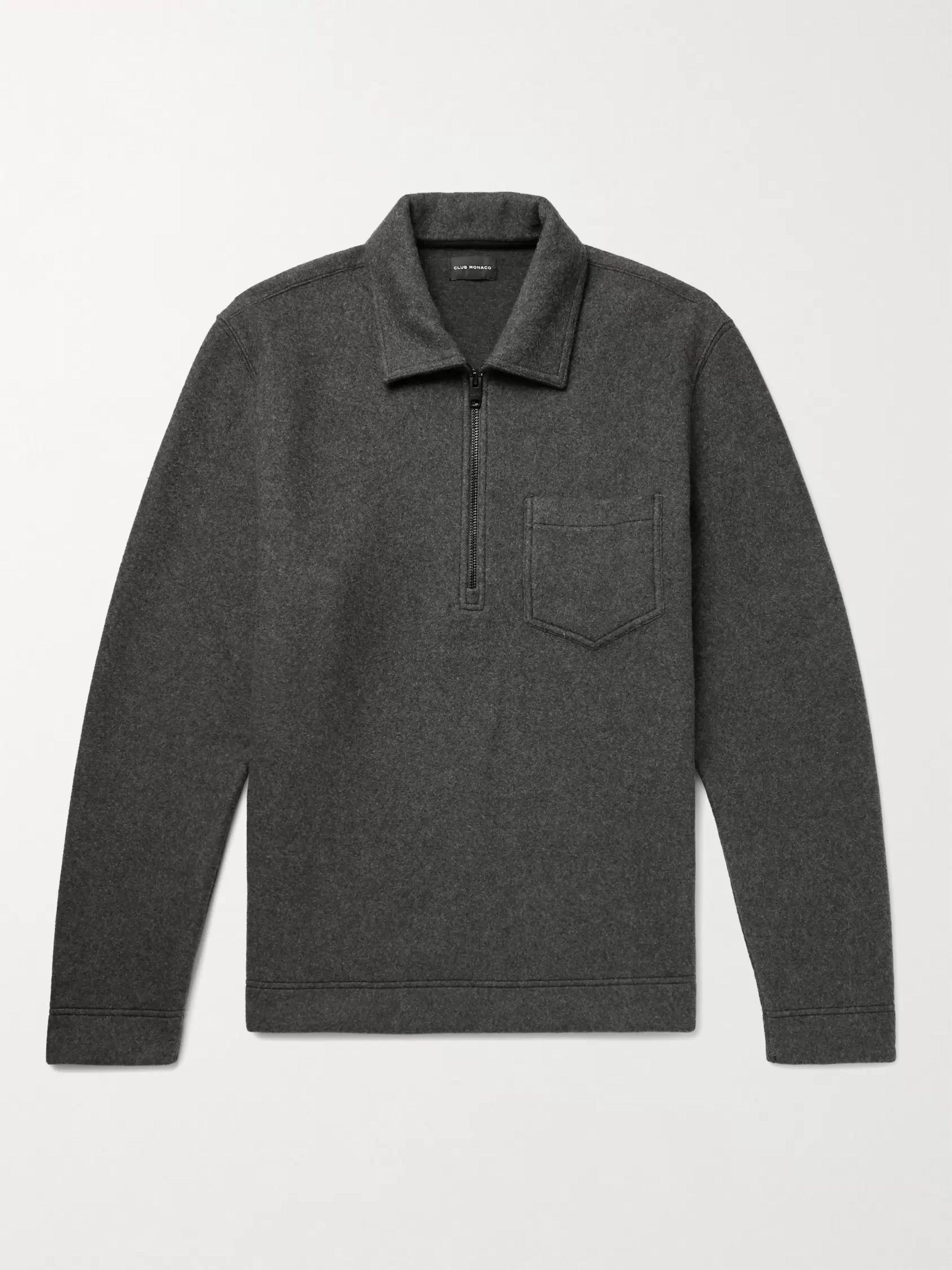 CLUB MONACO Melange Brushed Cotton-Blend Half-Zip Sweatshirt