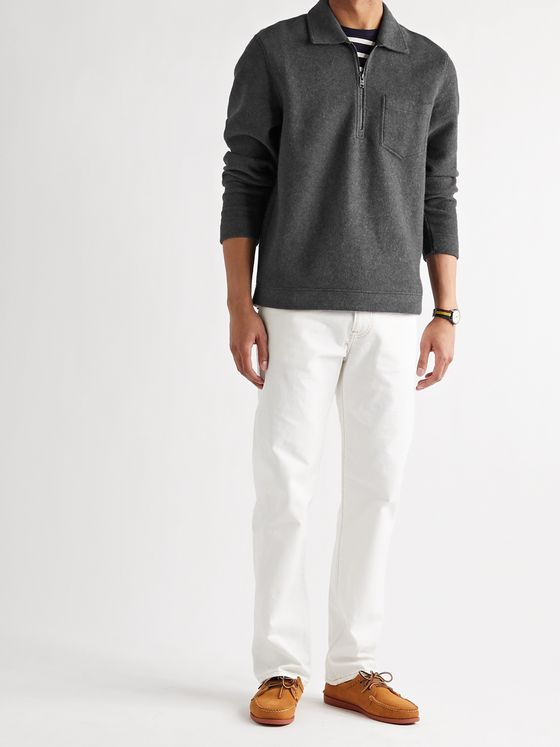 CLUB MONACO Mélange Brushed Cotton-Blend Half-Zip Sweatshirt