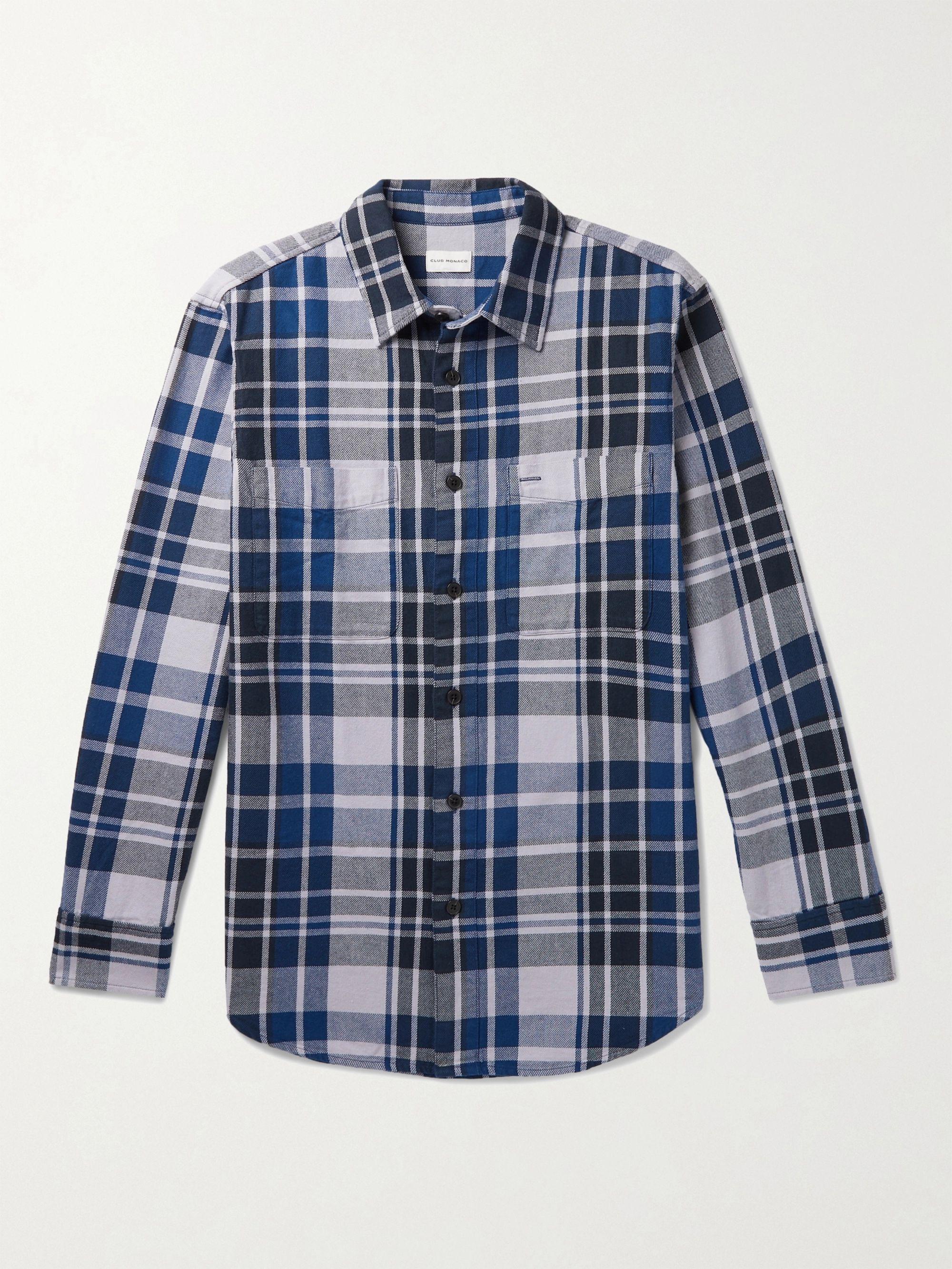 CLUB MONACO Checked Cotton-Twill Shirt