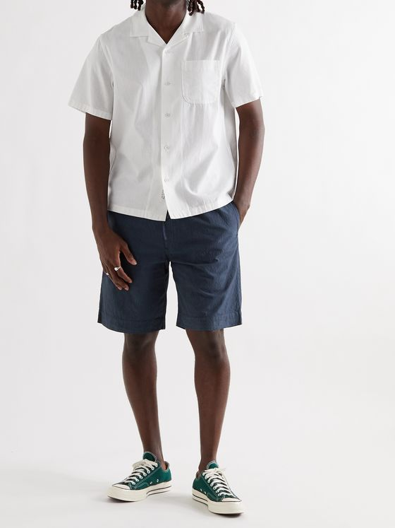YMC Jay Cotton-Blend Seersucker Drawstring Shorts