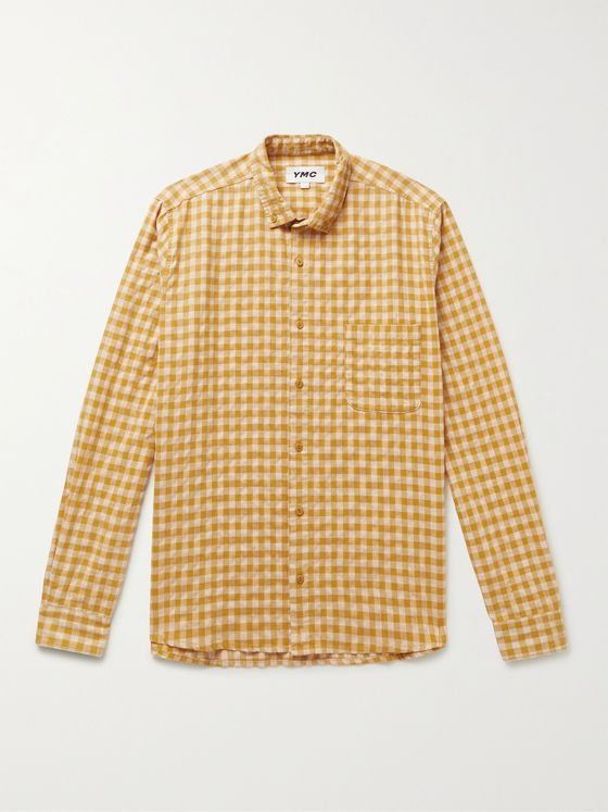 YMC Dean Button-Down Collar Gingham Woven Shirt