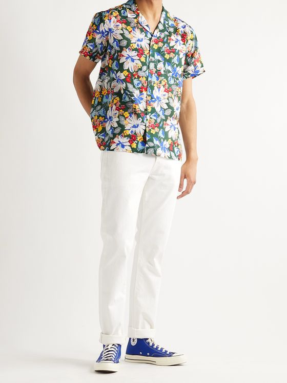 YMC Malick Camp-Collar Floral-Print Cotton and Silk-Blend Shirt