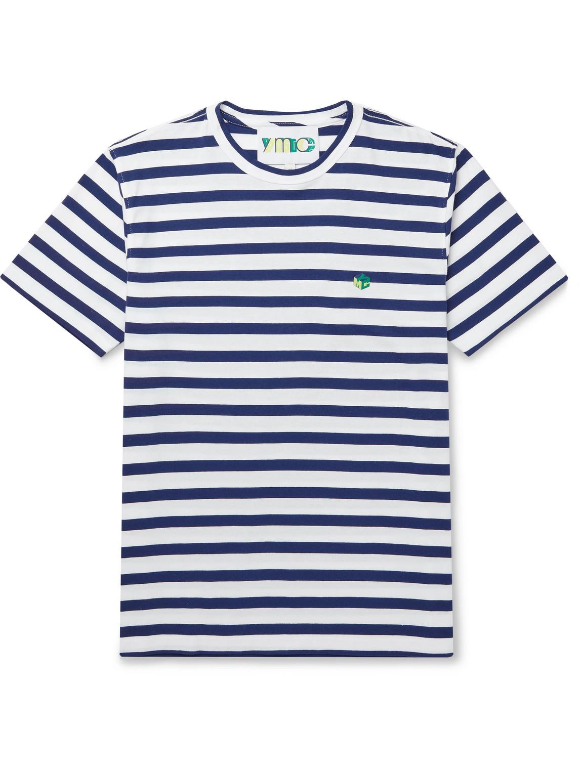 ymc - wild ones striped organic cotton-jersey t-shirt - men - blue - l