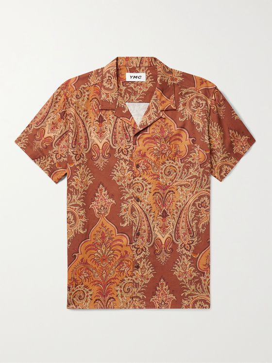 YMC Malick Camp-Collar Paisley-Print Cotton Shirt