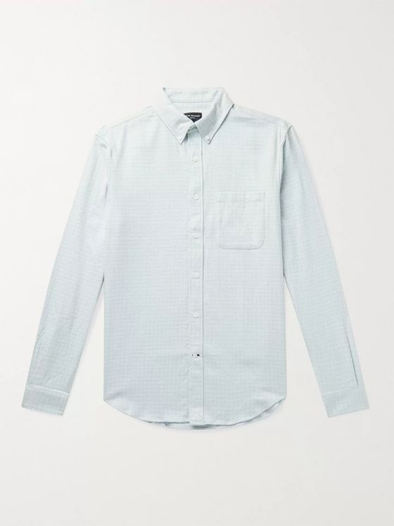 CLUB MONACO Slim-Fit Button-Down Collar Puppytooth Cotton-Jaspe Shirt
