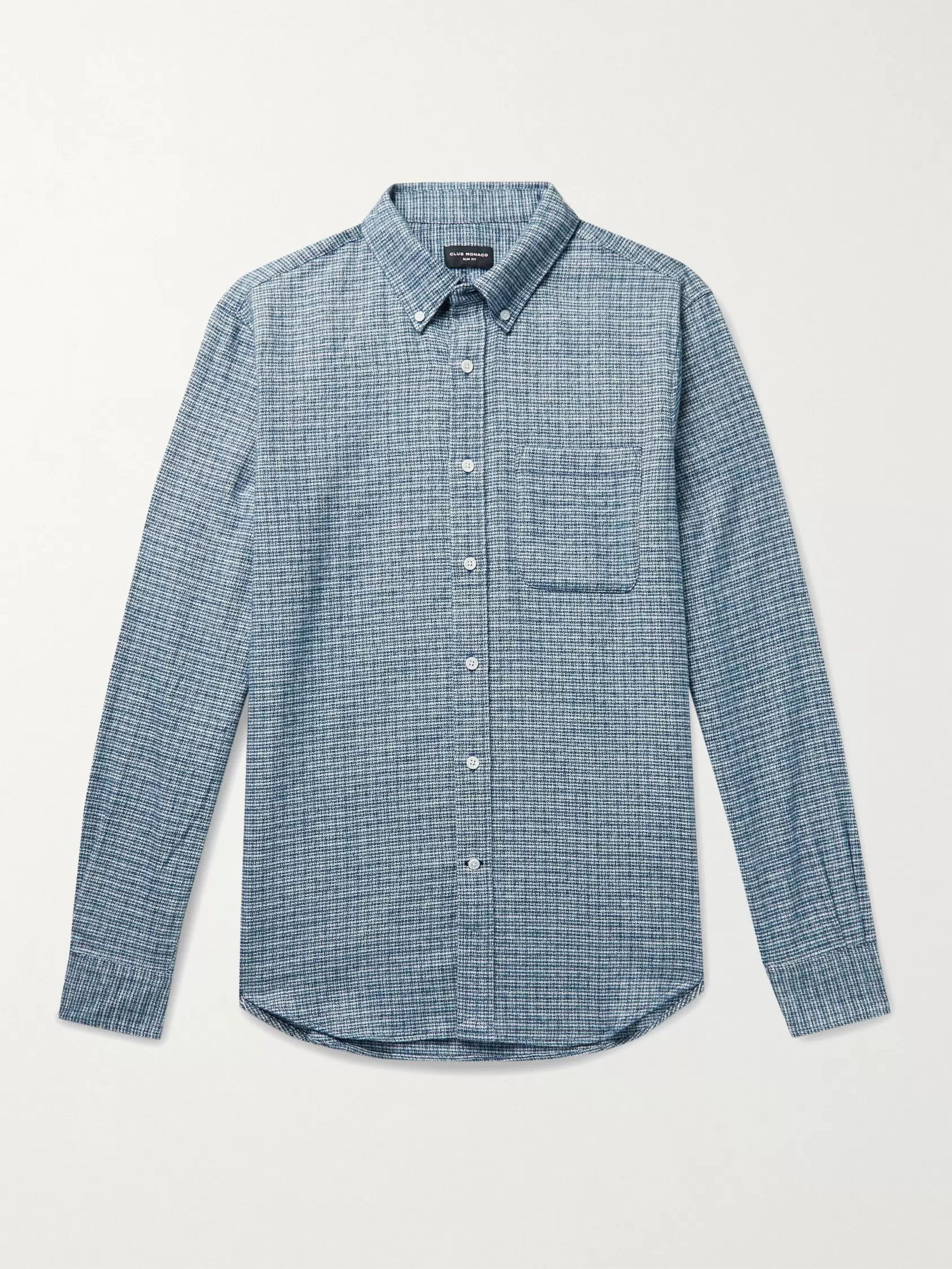 CLUB MONACO Slim-Fit Button-Down Collar Puppytooth Cotton-Jaspe Shirt