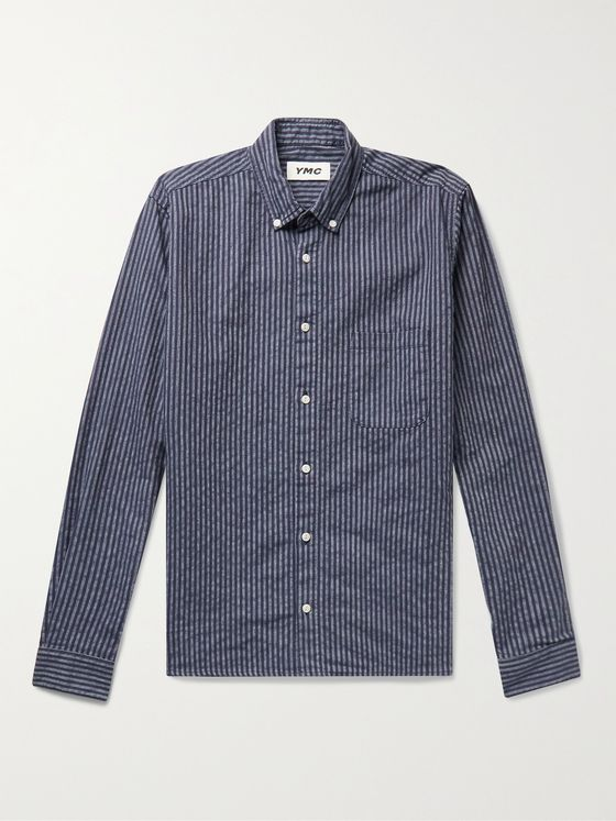 YMC Dean Button-Down Collar Striped Woven Shirt