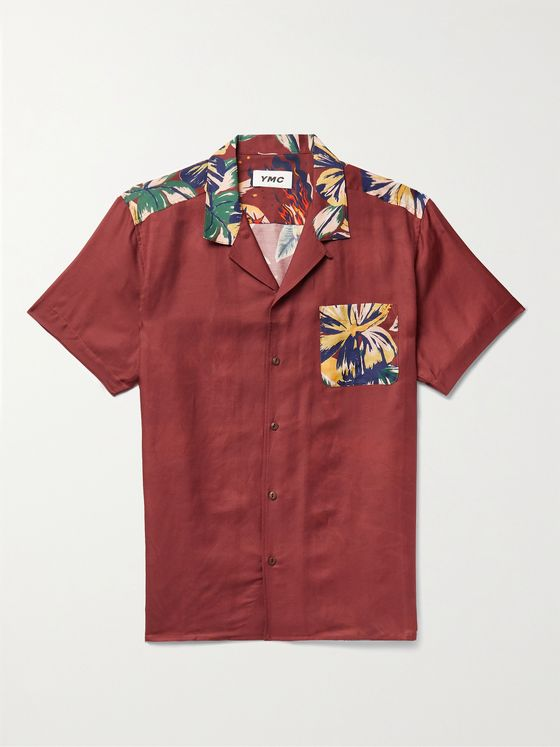 YMC Malick Camp-Collar Printed Cotton and Silk-Blend Shirt