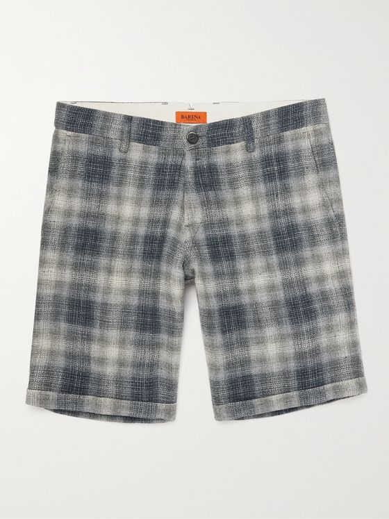 BARENA Rio Romaso Slim-Fit Checked Linen Shorts