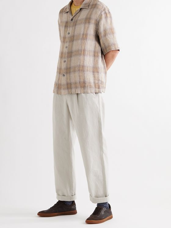 Barena Camp-Collar Checked Linen Shirt