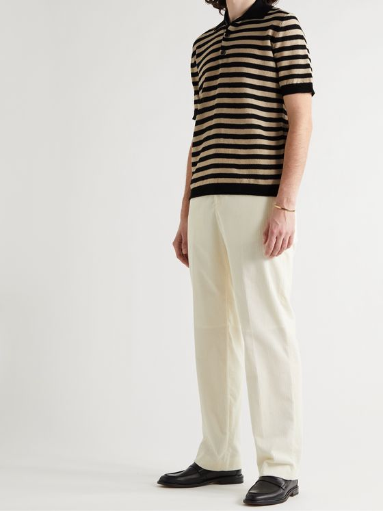 BARENA Marco Striped Linen Polo Shirt