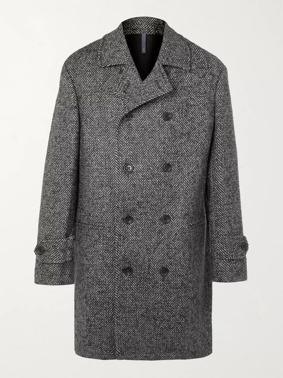 INCOTEX Double-Breasted Herringbone Wool and Mohair-Blend Overcoat