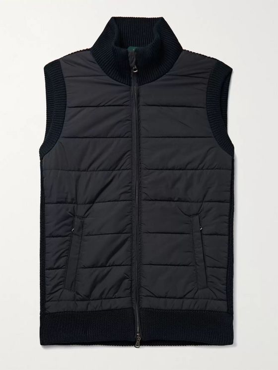 Incotex Panelled Rib-Knit and Quilted Shell Vest