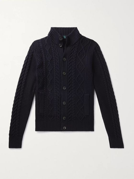 INCOTEX Cable-Knit Virgin Wool Cardigan
