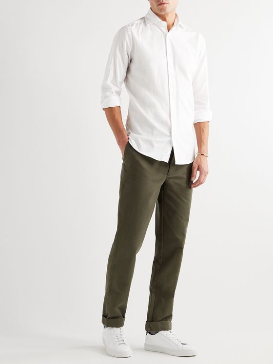INCOTEX Fellini Slim-Fit Herringbone Cotton Shirt