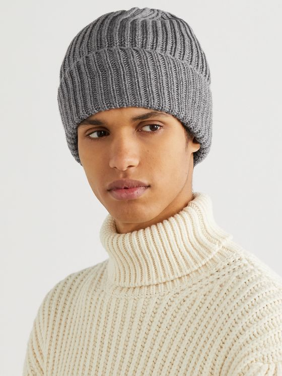 INCOTEX Ribbed Virgin Wool Beanie