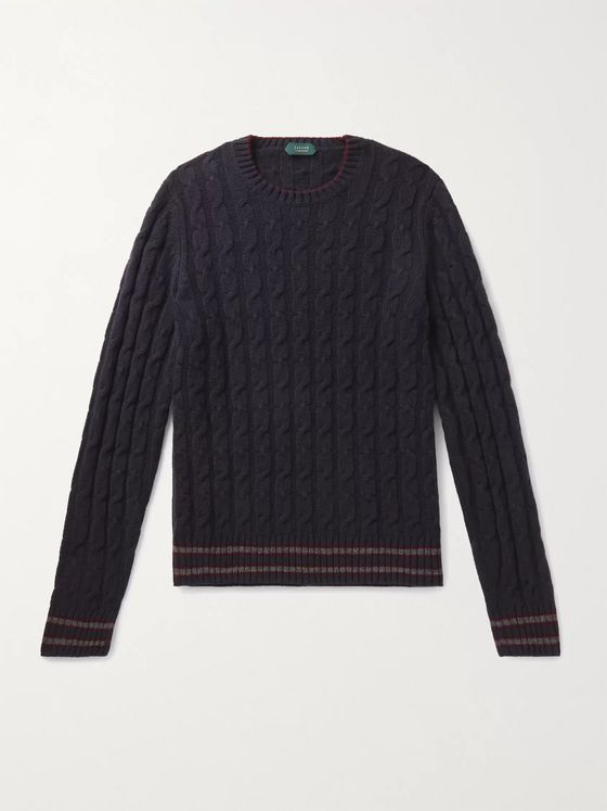 INCOTEX Stripe-Trimmed Cable-Knit Virgin Wool Sweater