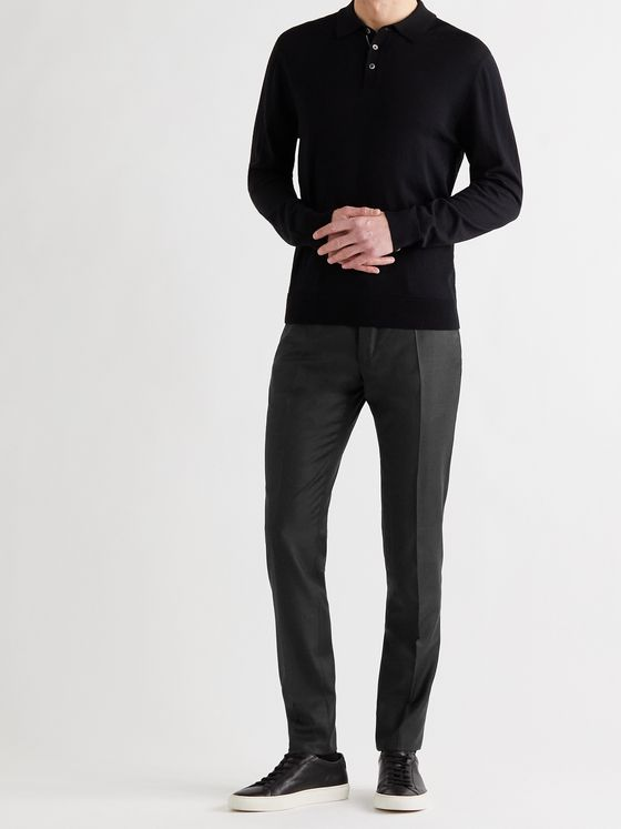INCOTEX Slim-Fit Wool and Cashmere-Blend Twill Trousers