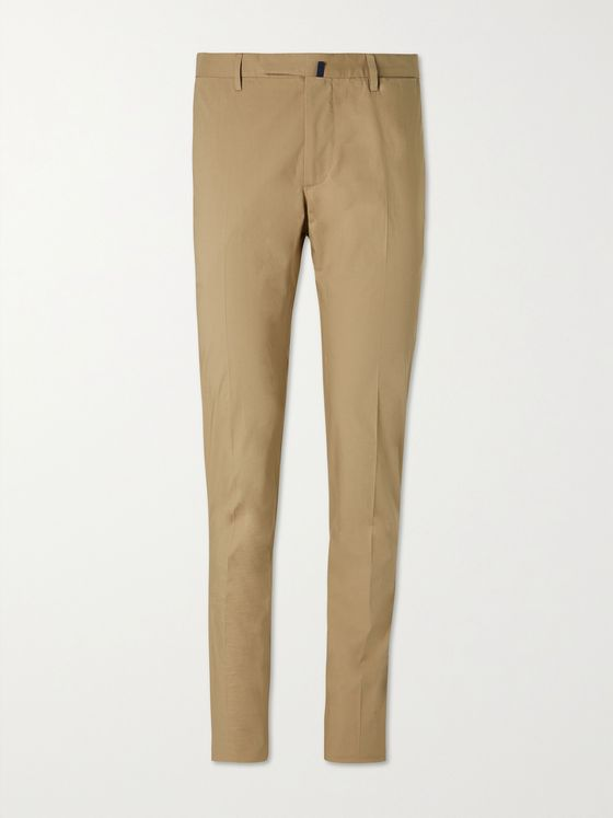 INCOTEX Slim-Fit Stretch-Cotton Poplin Trousers